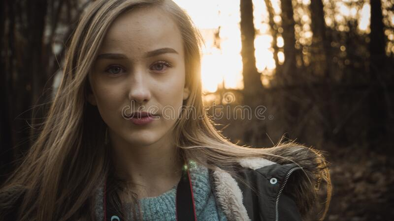 Portrait of girl in the forest stock photography