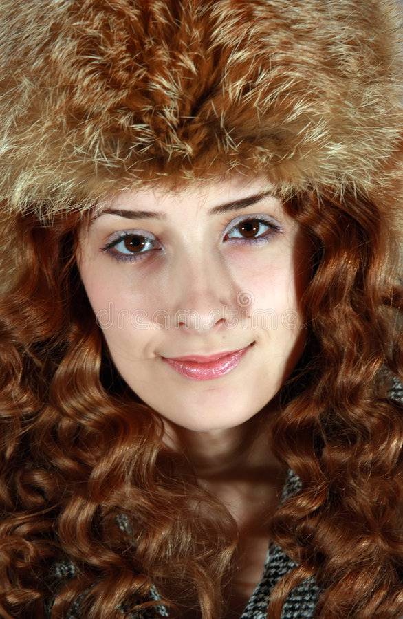 Portrait Of Girl In Fox Cap Royalty Free Stock Images