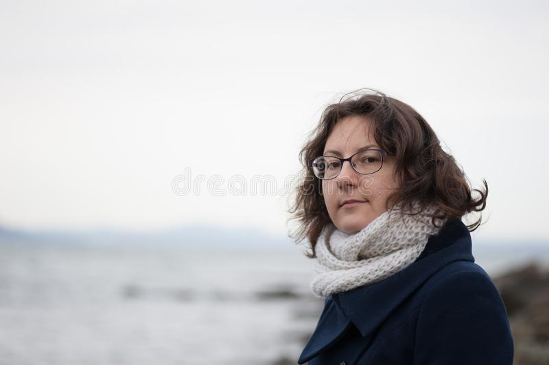 Portrait of girl in glasses royalty free stock images