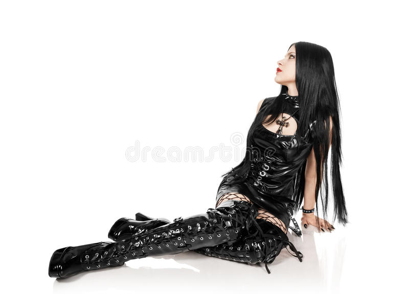 Portrait of the girl in Gothic style. Girl in the Gothic style, on white royalty free stock images
