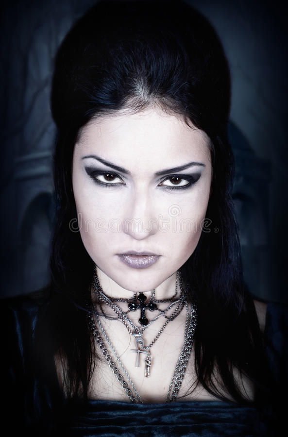 A portrait of the girl in Gothic style stock photo