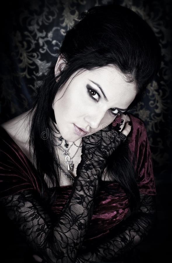 A portrait of the girl in Gothic style. Series. A portrait of the girl in Gothic style stock photos