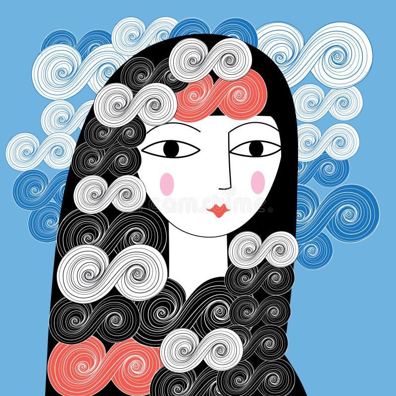 Portrait of a girl vector illustration