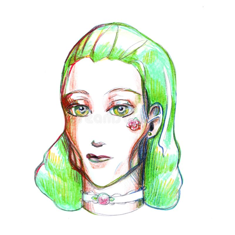 Portrait girl with green hair drawing picture illustration colored pencils simple pencil cheekbones flower yellow eyes turquoise l stock illustration