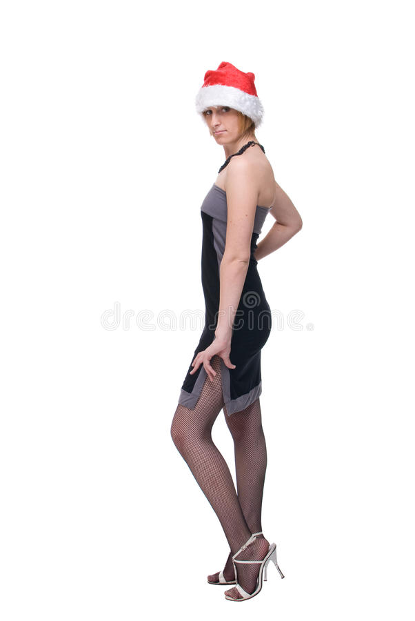 Download Portrait Of Girl In Grey Dress And Santa Hat Royalty Free Stock Images - Image: 11963719