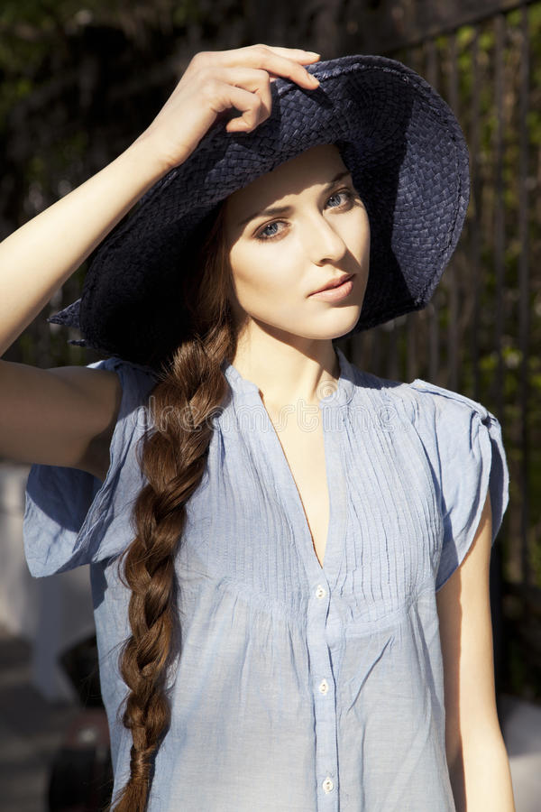Download Portrait Of Girl In The Hat Stock Image - Image of posing, natural: 25769071