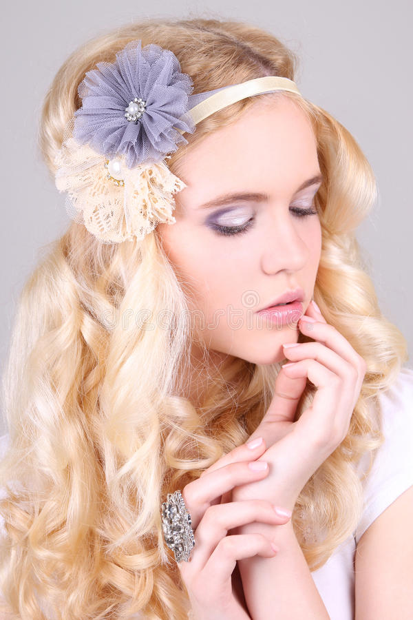 Portrait of a girl with headband dreaming royalty free stock photos