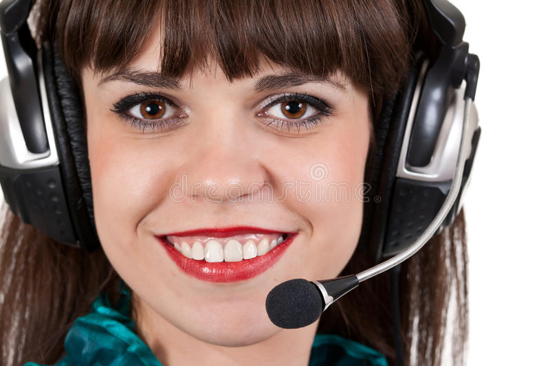 Download Portrait Of Girl With Headphones With Microphone Stock Photo - Image of headphones, female: 20352100