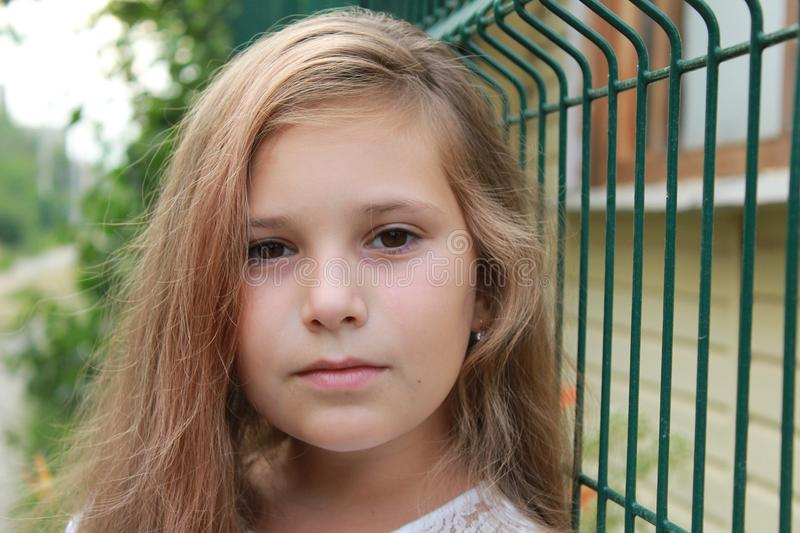 Portrait of a girl with loose hair in nature royalty free stock images