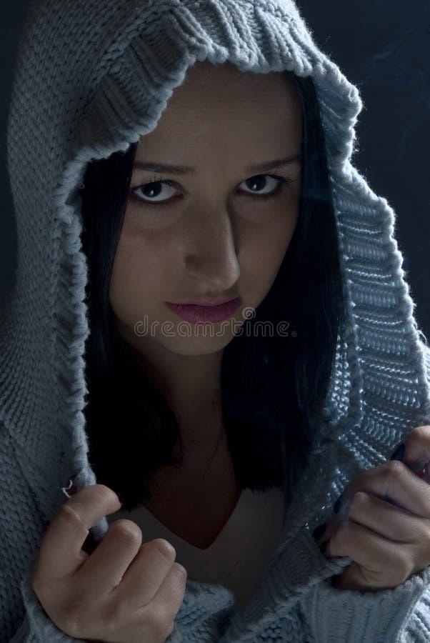 Download Portrait Of Girl In Hood In Dark Stock Image - Image: 12033915
