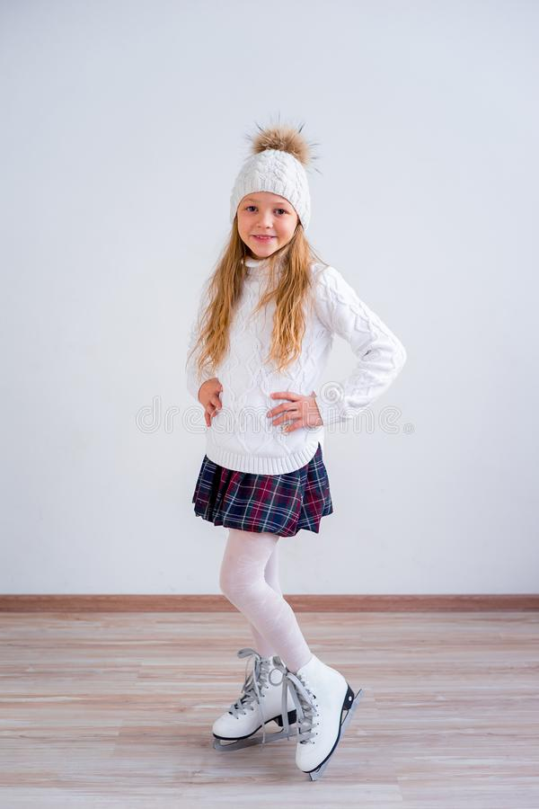 Girl on ice skates stock photography