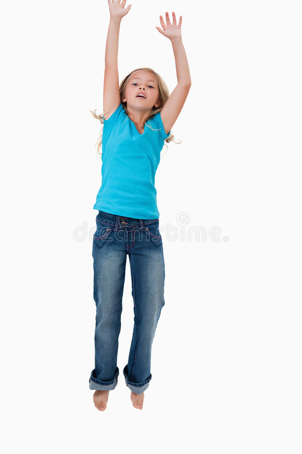 Portrait Of A Girl Jumping Stock Image
