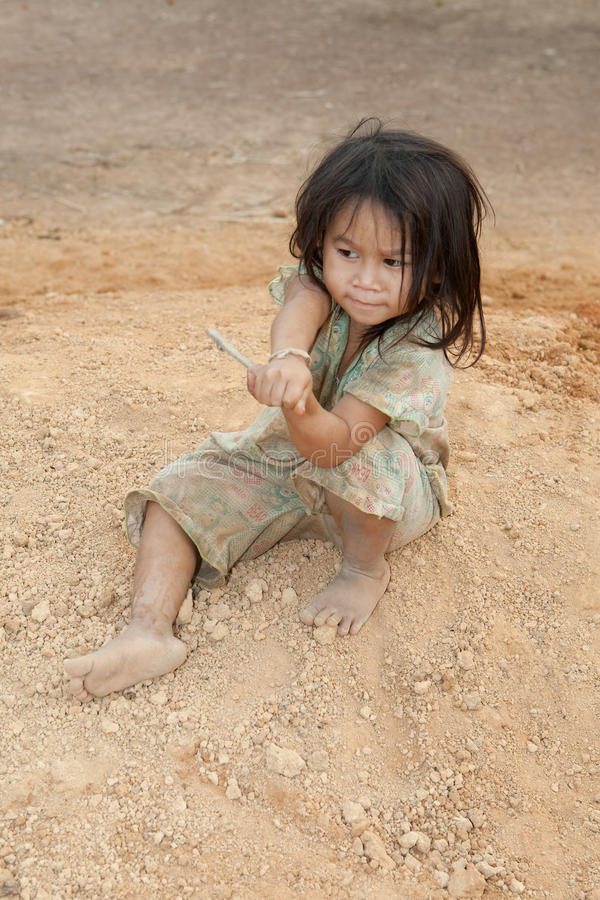 Download Portrait Girl Of Laos In Poverty Stock Image - Image: 13535385