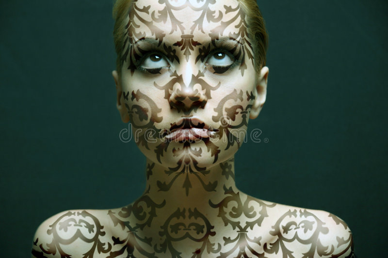 Portrait of girl with make-up stock photos