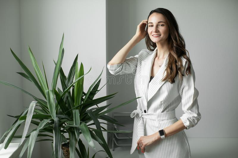 Portrait of a girl in a office stock photos