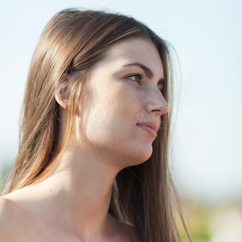 Portrait of girl on open air royalty free stock photography