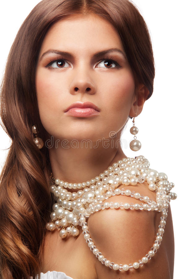 Download Portrait Of A Girl With Pearls Necklace Stock Image - Image of evening, accessories: 22665411