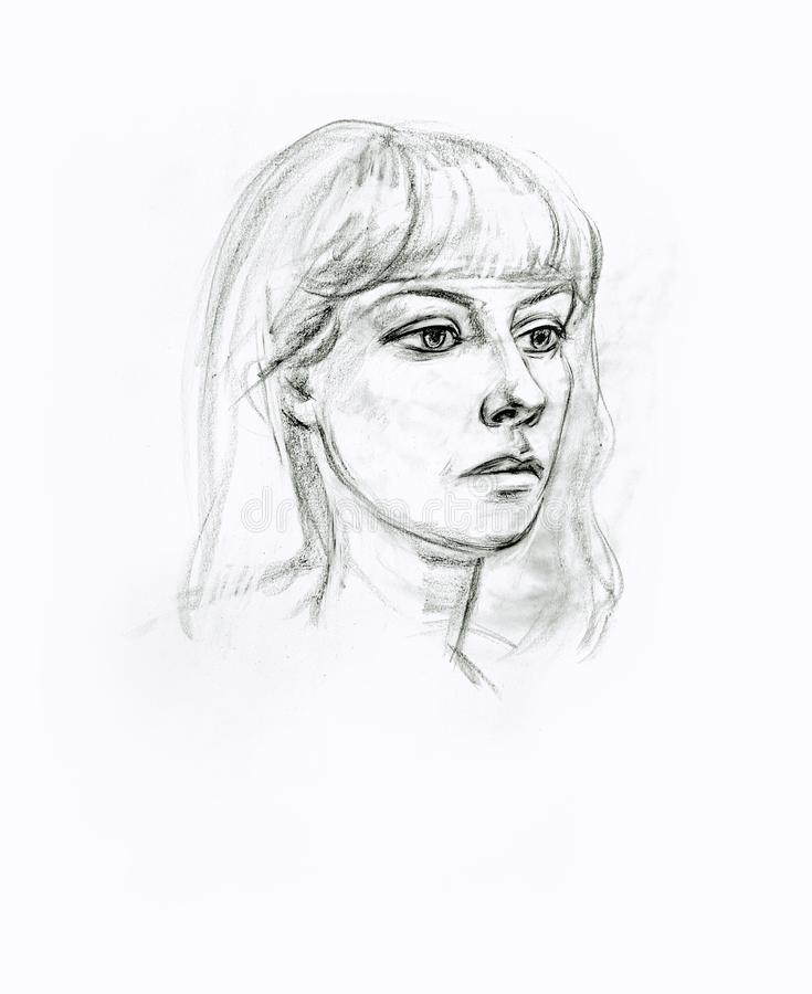 Portrait of a girl with a pencil. Hand drawn stock illustration