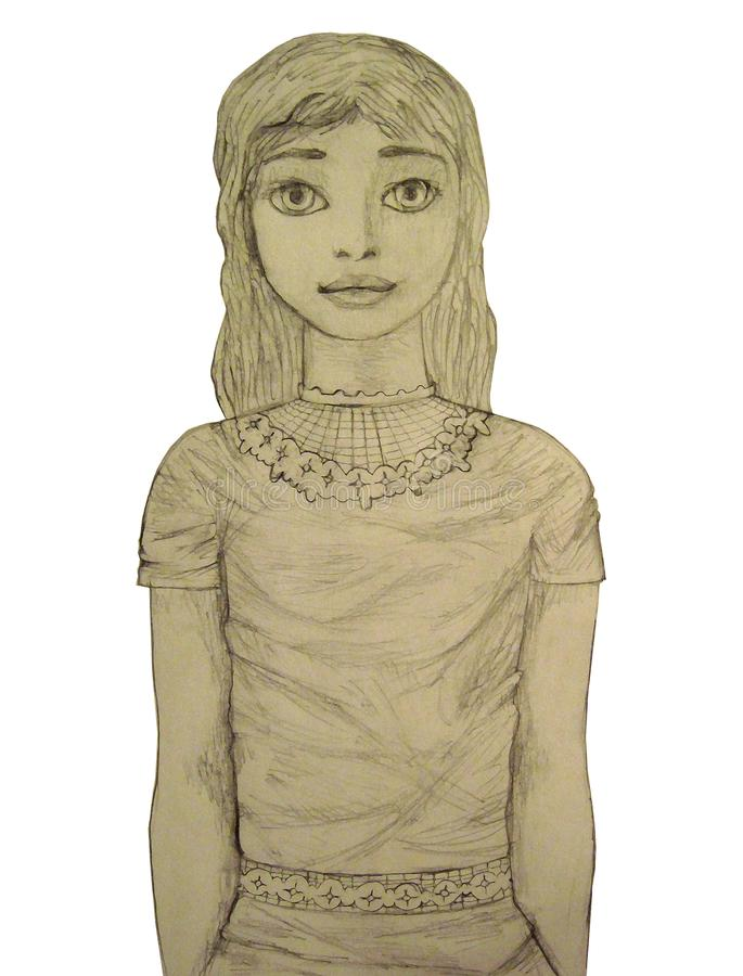 Portrait of a girl pencil stock image