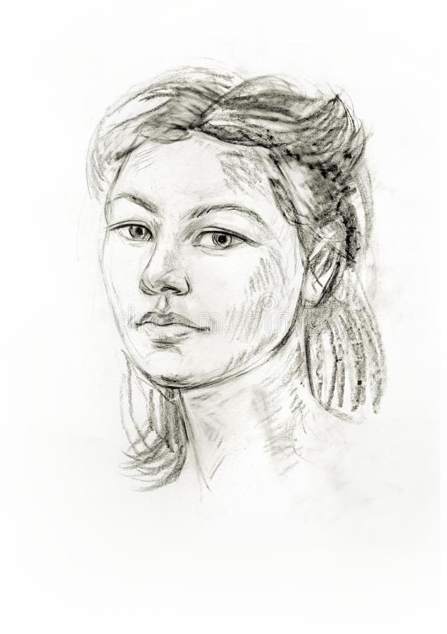 Portrait of a girl with a pencil. Hand drawn royalty free illustration