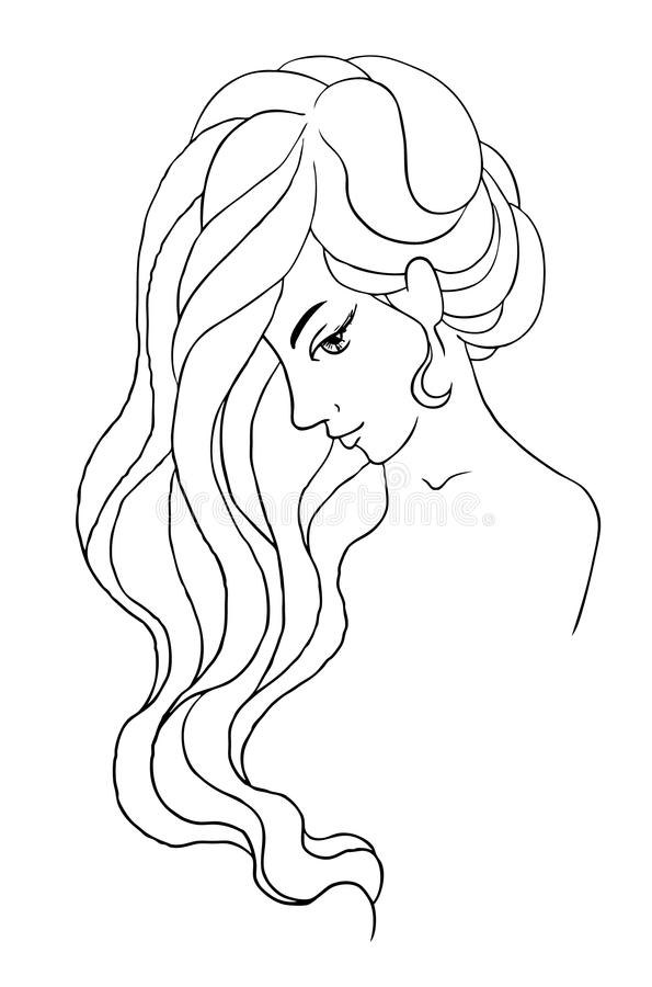 portrait of a girl in profile with a curvy long hair stock