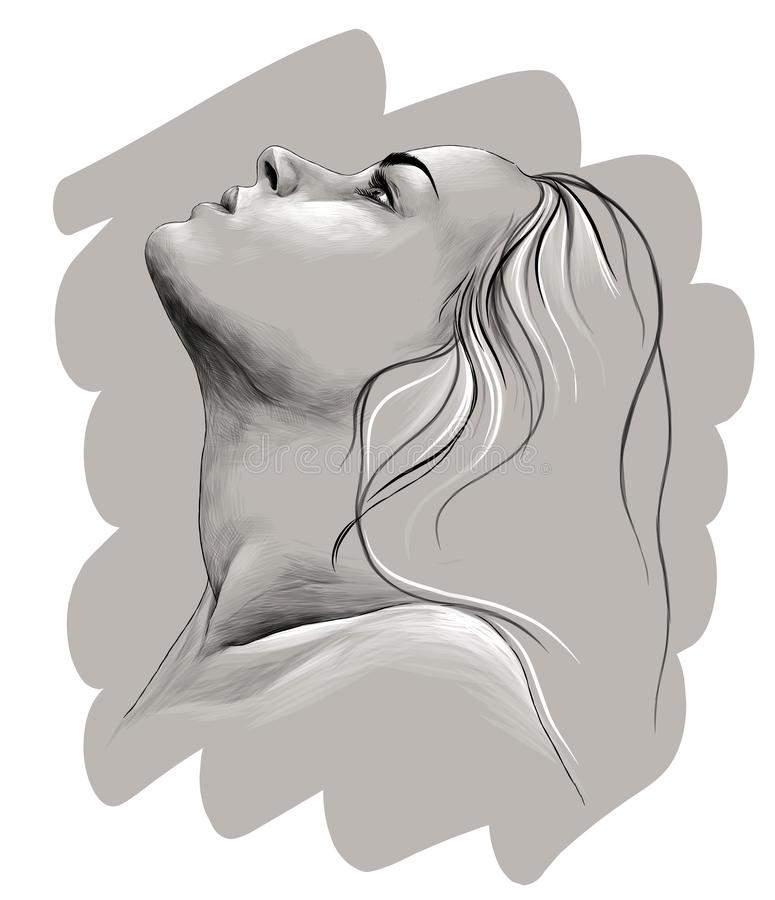 Profile drawing girl Let's learn