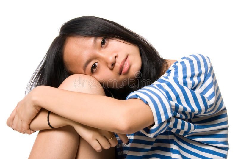Download Portrait Of Girl Put Head On Knees Stock Image - Image: 25883527