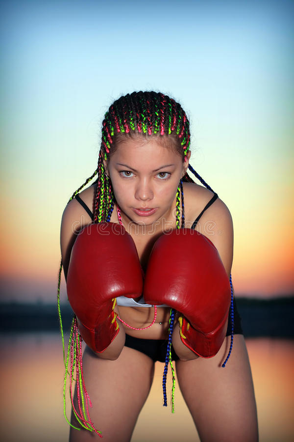 Download Portrait Of A Girl With Red Boxing Gloves Stock Photo - Image: 26492498