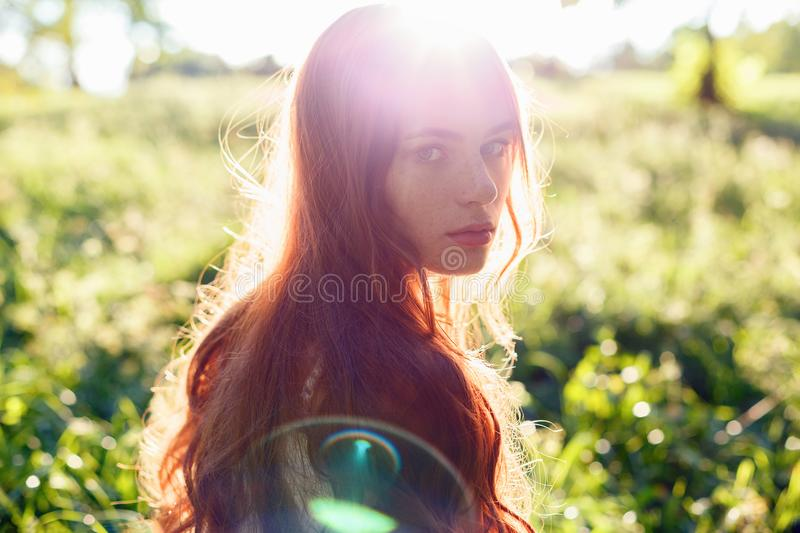 Portrait of a girl with red hair in the Sun stock photo