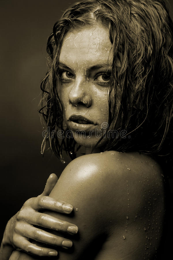 Download Portrait Of A Girl's Face Which Water Flows Stock Photo - Image: 29026120