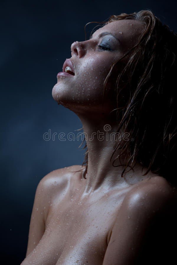 Portrait Of A Girl S Face Which Water Flows Stock Images