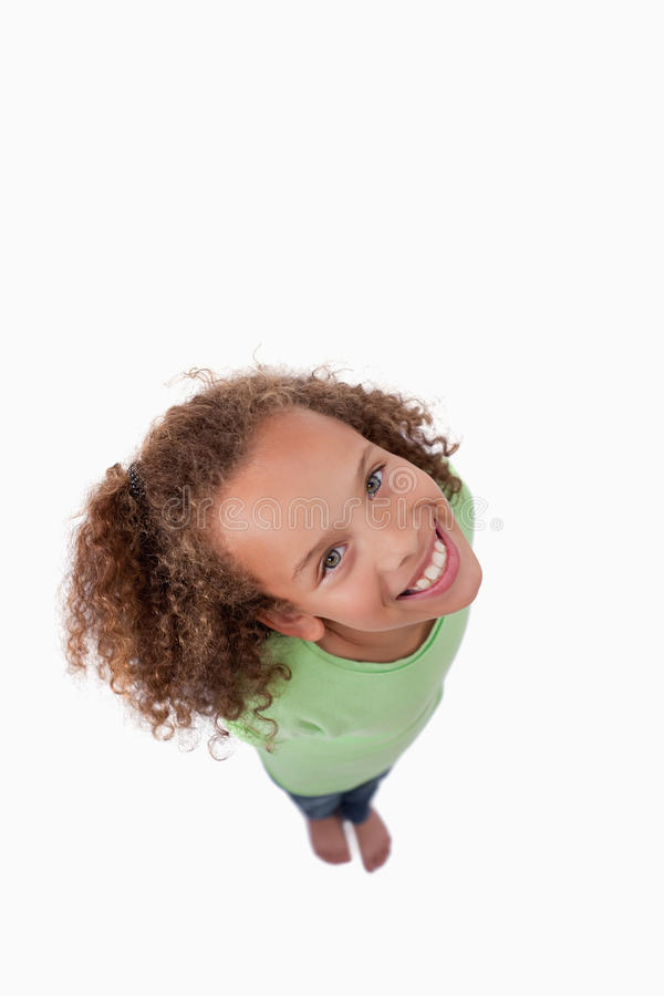 Download Portrait Of A Girl Smiling At The Camera Above Her Stock Image - Image: 22691887