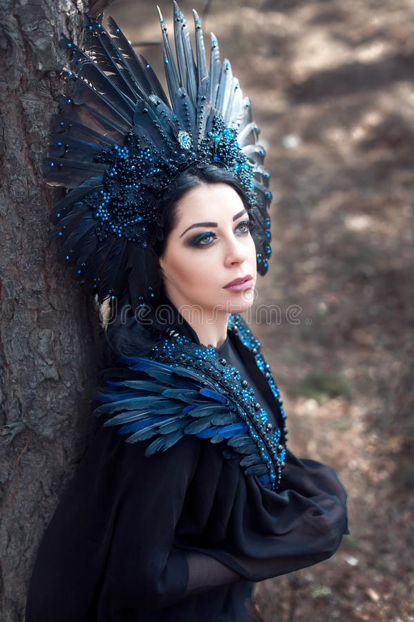 Portrait of a girl in a stage costume. Crow. royalty free stock images