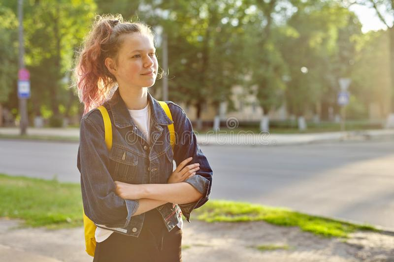 Portrait of girl student 15 years old with backpack stock image