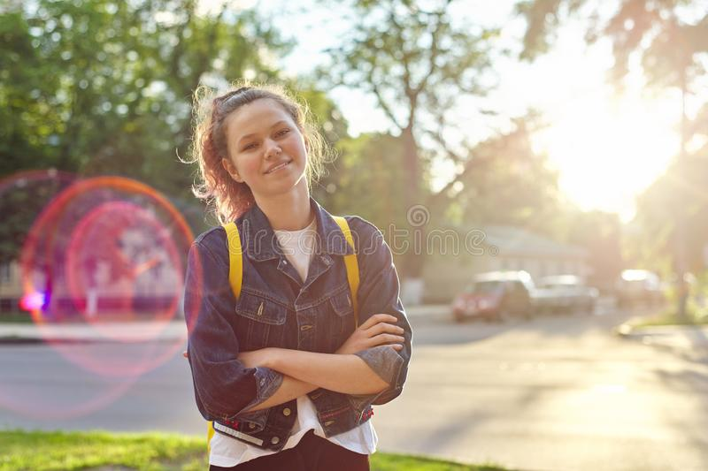 Portrait of girl student 15 years old with backpack stock photos