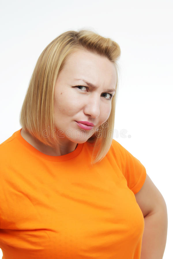 Portrait girl with suspicious emotion. royalty free stock image