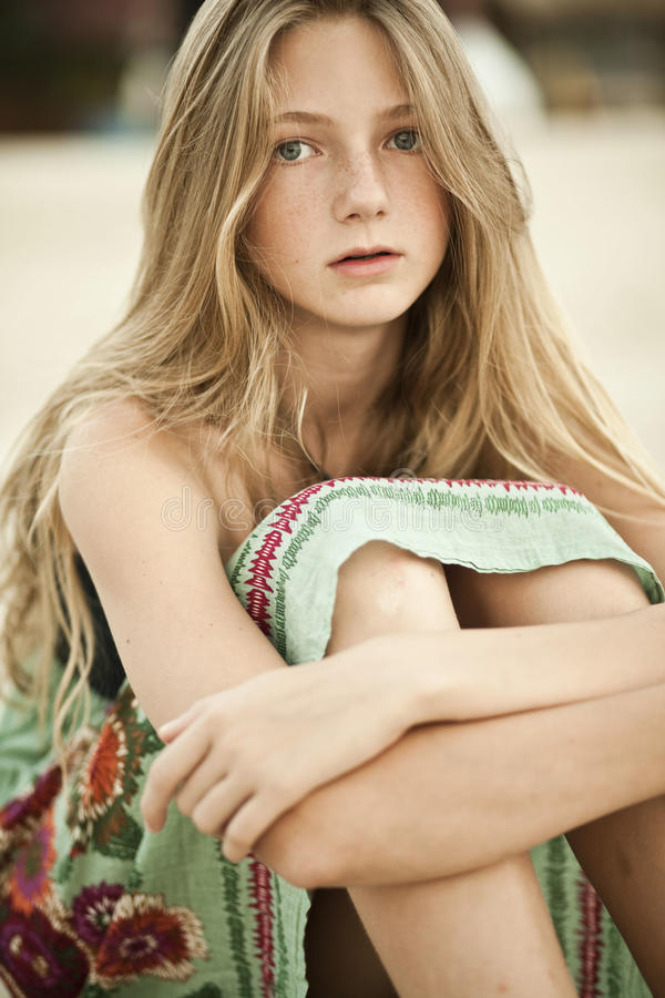 Portrait Of A Girl - Teen With Freckles Stock Photo