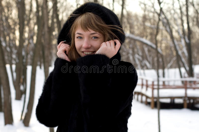 Portrait of a girl walking in park royalty free stock image