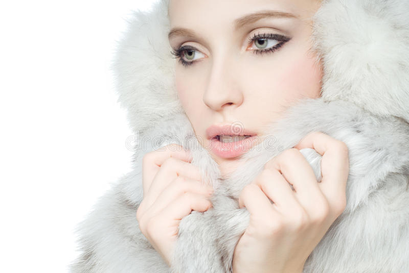 Download Portrait Of Girl Wearing White Fur Royalty Free Stock Photo - Image: 17402475