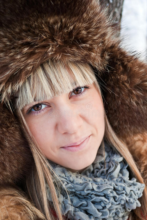 Portrait Of A Girl Winter. Royalty Free Stock Photo