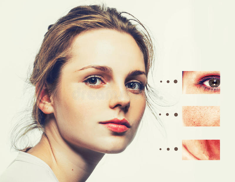 Portrait of girl woman with problem and clear skin, aging and youth concept stock photo