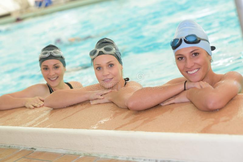 Portrait girls at pool royalty free stock image
