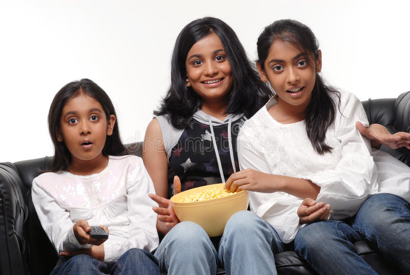 Download Portrait Of Girls Watching TV Stock Image - Image: 28019171