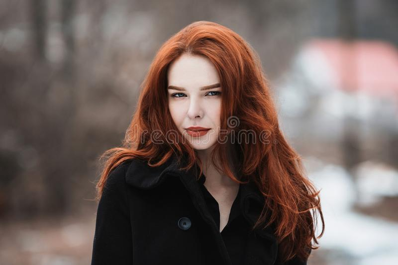 Beautiful girl with red hair stock images