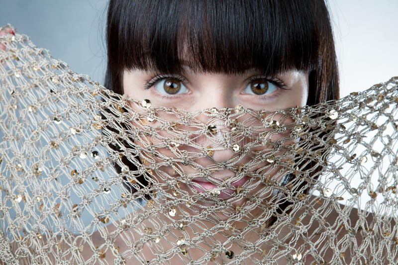 Portrait of a gold mesh stock photography