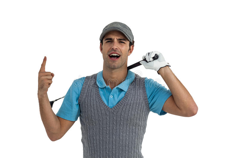 Portrait of golf player posing after victory stock images