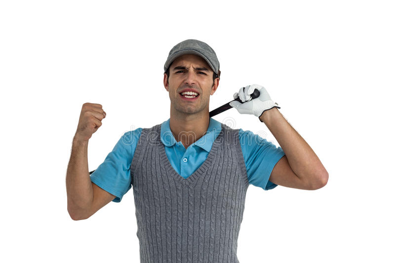 Portrait of golf player posing after victory stock photography