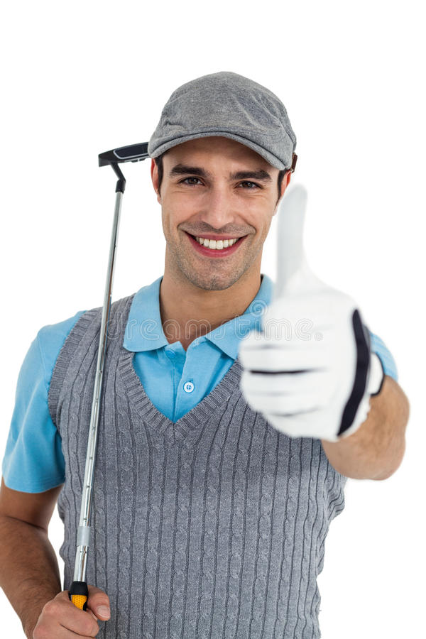 Portrait of golf player showing thumbs up royalty free stock images