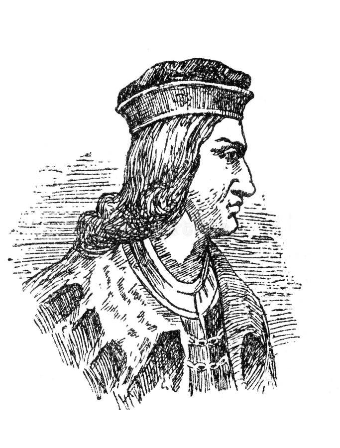 Portrait of Gonzalo Fernandez de Cordoba, 15th Century Spanish general. Badajoz, Spain - Jan 7th, 2019: Portrait of Gonzalo Fernandez de Cordoba, 15th Century stock illustration