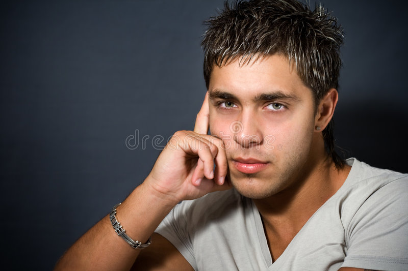 Portrait of good looking guy royalty free stock photography